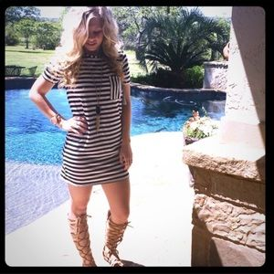 Baileys Black and White Striped T-shirt Dress